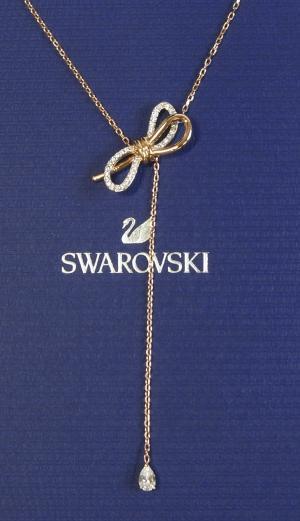 スワロフスキー ネックレス Y字 ペンダント リボン Lifelong Bow ライフロングボウ
