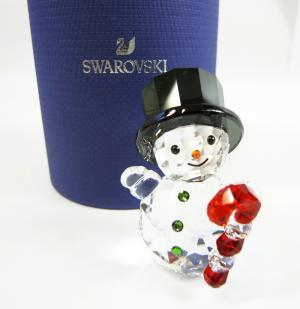 スワロフスキー 置物 フィギュア クリスタル スノーマンとキャンディケーン クリスマス
