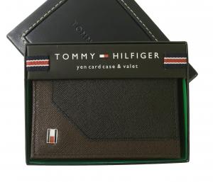 トミーヒルフィガー 名刺入れ カードケース メンズ SAFFIANO(ブラック×ブラウン)