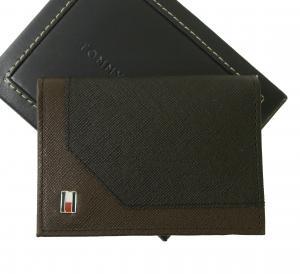 No.2 名刺入れ カードケース メンズ SAFFIANO(ブラック×ブラウン)
