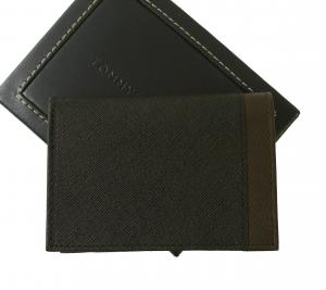 No.3 名刺入れ カードケース メンズ SAFFIANO(ブラック×ブラウン)