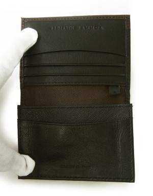 No.5 名刺入れ カードケース メンズ SAFFIANO(ブラック×ブラウン)