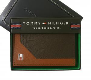 トミーヒルフィガー 名刺入れ カードケース メンズ SAFFIANO(ブラウン×タン)