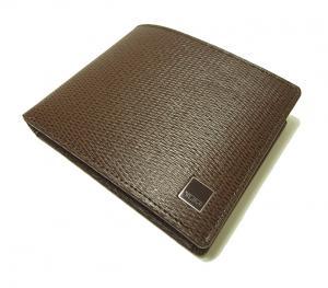 No.3 財布 メンズ 二つ折り (ブラウン) 型押しカーフスキン