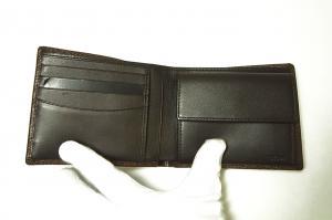 No.4 財布 メンズ 二つ折り (ブラウン) 型押しカーフスキン