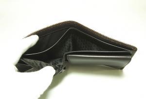 No.6 財布 メンズ 二つ折り (ブラウン) 型押しカーフスキン