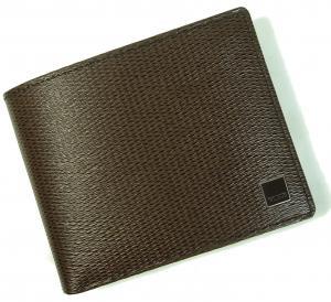 No.8 財布 メンズ 二つ折り (ブラウン) 型押しカーフスキン