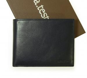 テストーニ 財布 メンズ 二つ折 ナッパカーフ レザー (ネイビーブルー)
