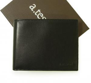 テストーニ 財布 メンズ 二つ折 ナッパカーフ レザー (ブラック)