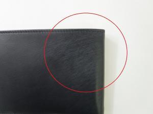 No.8  <訳あり・アウトレット>財布 メンズ 二つ折 (ブラック)