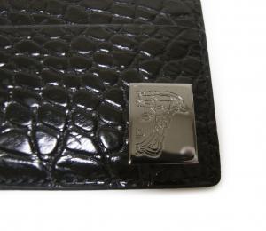 No.4 カードケース  ヴェルサーチコレクション クロコ型押し ブラック