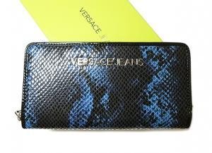 2e60585cd546 ジャンニヴェルサーチ ヴェルサーチジーンズ ラウンドファスナー長財布(ブルー×ブラック)
