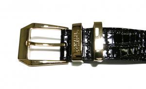 No.3 クロコ型押しメンズベルト(ブラック)80cm