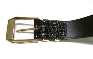 No.4 クロコ型押しメンズベルト(ブラック)80cm