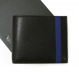 ヴァレクストラ 財布 二つ折 ラインデザイン(ブラック+ブルー)