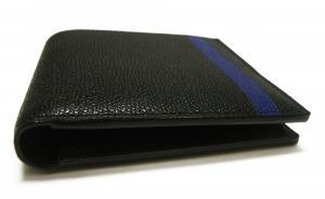 No.6 財布 二つ折 ラインデザイン(ブラック+ブルー)