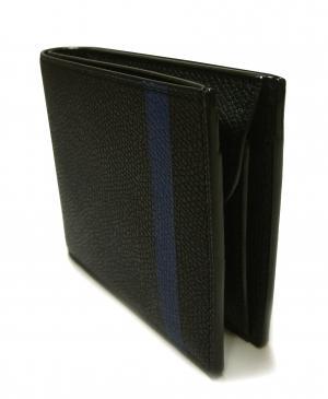 No.7 財布 二つ折 ラインデザイン(ブラック+ブルー)