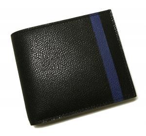 No.8 財布 二つ折 ラインデザイン(ブラック+ブルー)