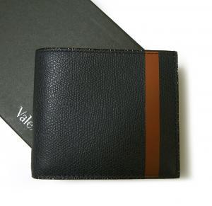 ヴァレクストラ 財布 二つ折 ラインデザイン(ダークブルー+ブラウン)
