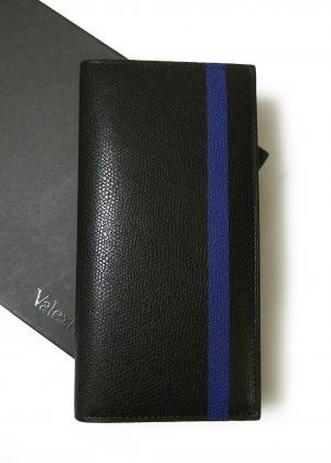 ヴァレクストラ 長札 二つ折 ラインデザイン(ブラック+ブルー)*小銭入れなし