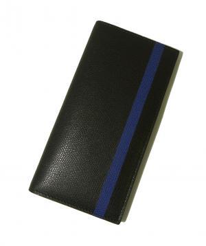 No.7 長札 二つ折 ラインデザイン(ブラック+ブルー)*小銭入れなし