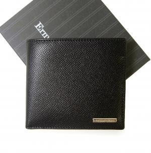 ゼニア 財布 メンズ 二つ折り グレインレザー (ブラック)