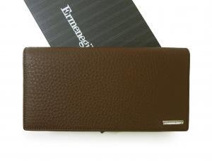 ゼニア 長財布 メンズ 二つ折り ソフトグレインレザー (牛革) (茶褐色)