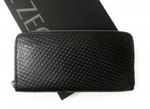 ゼニア 長財布 メンズ ラウンドファスナー 型押しグレインレザー (ブラック)