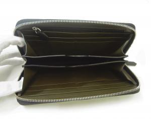 No.4 長財布 メンズ ラウンドファスナー 型押しグレインレザー (ブラック)