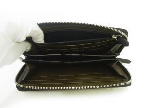 No.5 長財布 メンズ ラウンドファスナー 型押しグレインレザー (ブラック)