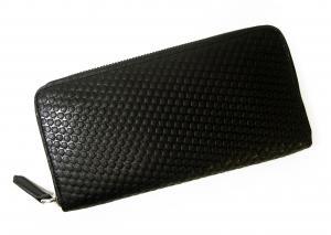 No.6 長財布 メンズ ラウンドファスナー 型押しグレインレザー (ブラック)