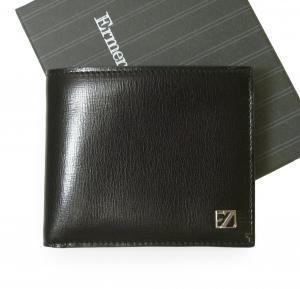 ゼニア 財布 札入れ メンズ 型押し牛革 二つ折り (ブラック) *小銭入れなし