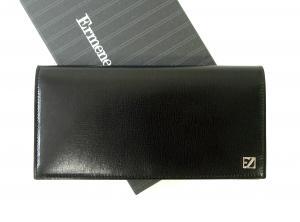 ゼニア 長財布 メンズ 型押し牛革 二つ折り (ブラック)