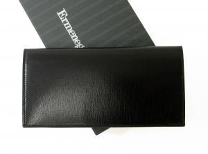 No.2 長財布 メンズ 型押し牛革 二つ折り (ブラック)