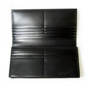 No.5 <訳あり・アウトレット>長財布 メンズ 型押し牛革 二つ折り (ブラック)